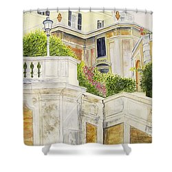Shower Curtain featuring the painting Spanish Steps by Carol Flagg