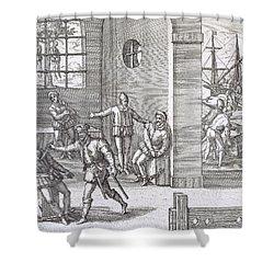 Spanish Traitors In Panama Shower Curtain by Theodore De Bry