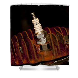 Shower Curtain featuring the photograph Sparkplug And Rusty Cooling Fins by Wilma  Birdwell