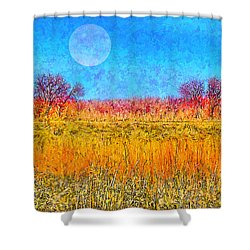 Shower Curtain featuring the digital art Moonlight Over Fields Of Gold - Boulder County Colorado by Joel Bruce Wallach