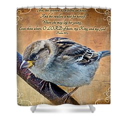 Sparrow With Verse Shower Curtain by Debbie Portwood