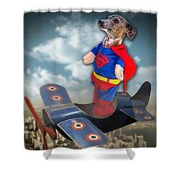 Shower Curtain featuring the digital art Speedolini Flying High by Kathy Tarochione
