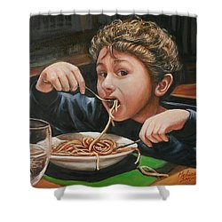 Shower Curtain featuring the painting Spaghetti Boy by Melinda Saminski