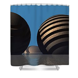 Spheres Shower Curtain by Lyle Hatch