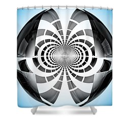 Shower Curtain featuring the digital art Spheroid by GJ Blackman