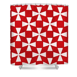 Spice Twirl- Red And White Pattern Shower Curtain by Linda Woods