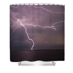 Spider Lightning Over Charleston Harbor Shower Curtain