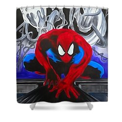 Spider-man Watercolor Shower Curtain by Justin Moore