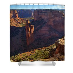 Shower Curtain featuring the photograph Spider Rock Sunrise by Alan Vance Ley