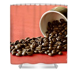Spill The Beans Shower Curtain by Dee Cresswell