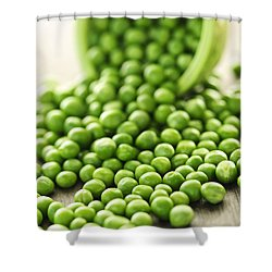 Spilled Bowl Of Green Peas Shower Curtain by Elena Elisseeva
