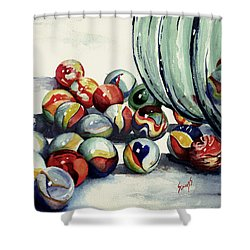 Spilled Marbles Shower Curtain by Sam Sidders
