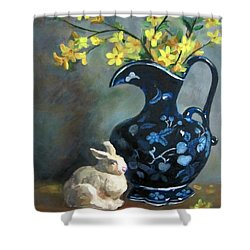 Shower Curtain featuring the painting Sping In Vase by Jieming Wang