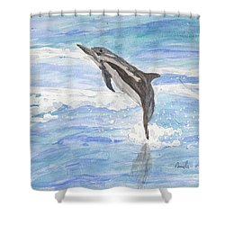 Spinner Dolphin Shower Curtain by Pamela  Meredith
