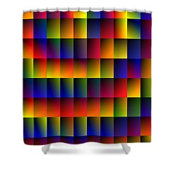 Shower Curtain featuring the digital art Spiral Boxes by Bartz Johnson