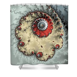 Spiral - Fractal Artwork In Yellow Gray And Red Shower Curtain by Matthias Hauser