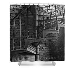 Spiral Staircase In B And W Shower Curtain