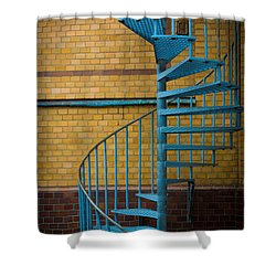 Spiral Staircase Shower Curtain by Inge Johnsson