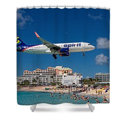Spirit Airlines Low Approach To St. Maarten Shower Curtain