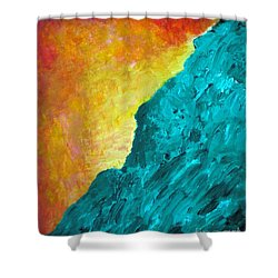 Spirit Dog And Sitting Buddha Or Red Sky In The Morning Shower Curtain by Scott Haley