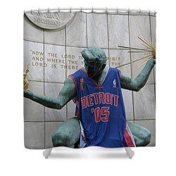 Spirit Of Detroit Piston Shower Curtain