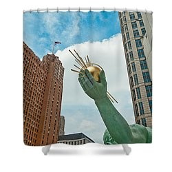 Spirit Of Detroit's Left Hand Shower Curtain