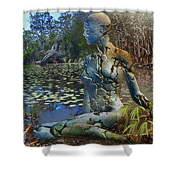Shower Curtain featuring the digital art Spirit Of The Land by Shadowlea Is
