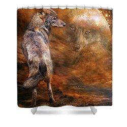 Spirit Of The Wolf Shower Curtain by Carol Cavalaris