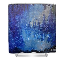 Shower Curtain featuring the painting Spirit Pond by Jacqueline Athmann
