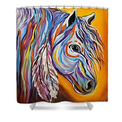 Shower Curtain featuring the painting 'spirit' War Horse by Janice Rae Pariza
