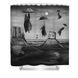 Spirits Of The Flying Umbrellas Bw Shower Curtain by Leah Saulnier The Painting Maniac
