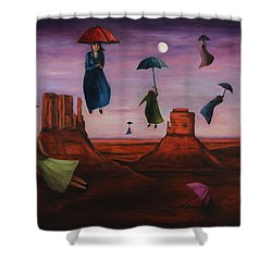 Spirits Of The Flying Umbrellas Shower Curtain by Leah Saulnier The Painting Maniac