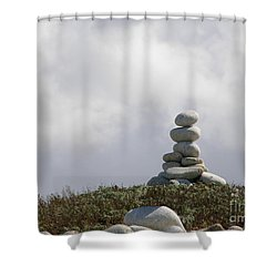 Shower Curtain featuring the photograph Spiritual Rock Sculpture by Bev Conover