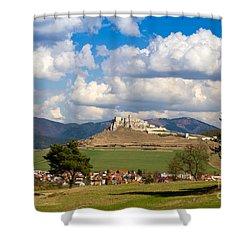 Shower Curtain featuring the photograph Spissky Hrad - Castle by Les Palenik