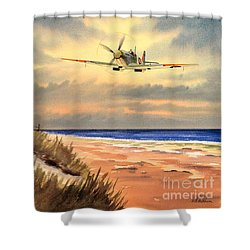 Spitfire Mk9 - Over South Coast England Shower Curtain by Bill Holkham