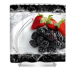Splash - Fruit - Strawberries And Blackberries Shower Curtain by Barbara Griffin