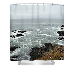 Splashing Ocean Waves Shower Curtain by Carla Carson