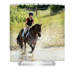 Splashing Thru Water Jump Shower Curtain