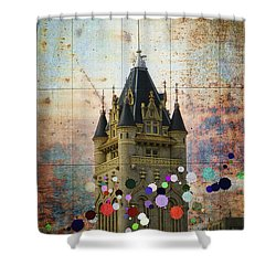 Splattered County Courthouse Shower Curtain by Daniel Hagerman