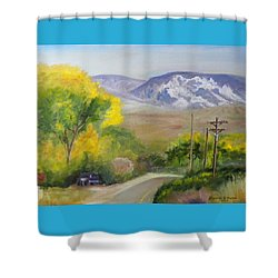 Split Mountain On Golf Course Road Shower Curtain by Sherril Porter