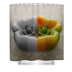 Split Pepper Shower Curtain by Don Spenner