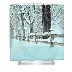 Split Rail Blues Shower Curtain by John Stephens