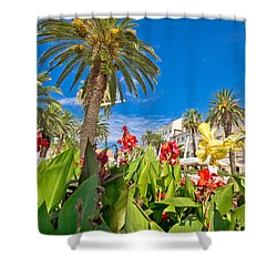 Split Riva Palms And Flowers Shower Curtain