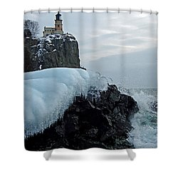 Shower Curtain featuring the photograph Split Rock Lighthouse Winter by James Peterson