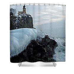 Split Rock Lighthouse Winter Shower Curtain