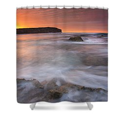 Splitting The Tides Shower Curtain by Mike  Dawson