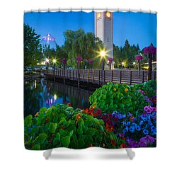 Spokane Clocktower By Night Shower Curtain by Inge Johnsson