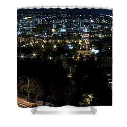 Spokane Washington Skyline At Night Shower Curtain by Daniel Hagerman