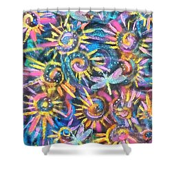 Spokes And Dragonflies Shower Curtain by Jean Fitzgerald