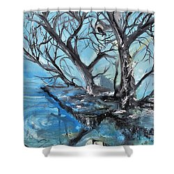 Shower Curtain featuring the painting Spooky Mood by Evelina Popilian
